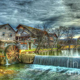 Pigeon Forge TN Old Mill Restaurant General Store Grist Mill Fall Architectural Art by Reid Callaway
