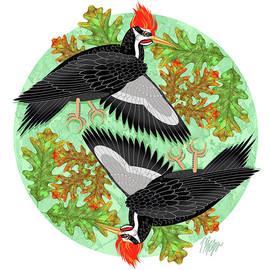 Pileated Woodpecker Oak Mandala by Tim Phelps