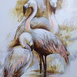 Pink Flamingos by Cathy MONNIER