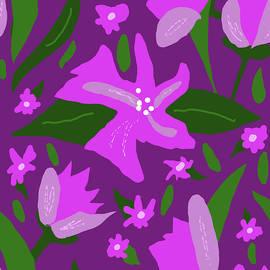 Pink Floral on Purple by Nancy Merkle