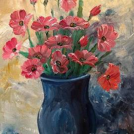 Pink Flowers in a Blue Vase by Lee Piper