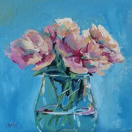 Pink Flowers with Blue by Sheila Romard
