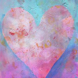 Pink heart on blue romance by Karen Kaspar