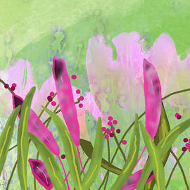 Pink Jungle Abstract by Nancy Merkle