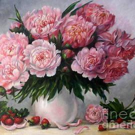 Pink peonies and strawberries  by Irina Davis