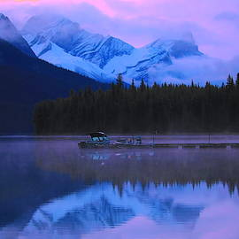 Pink Sunrise Maligne Lake by Dan Sproul