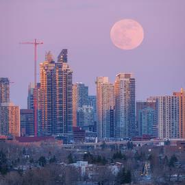 Pink Supermoon Bow River Calgary Alberta by Yves Gagnon