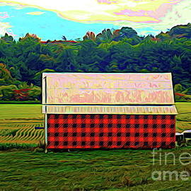 Plaid Barn in Massachusetts Abstract Expressionism Effect by Rose Santuci-Sofranko