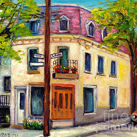 Plateau Mont Royal Rues  Marie-anne And Laval Montreal Street Scene Painting Grace Venditti Artist  by Grace Venditti