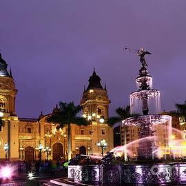 Plaza de Armas at twilight Lima Peru by James Brunker