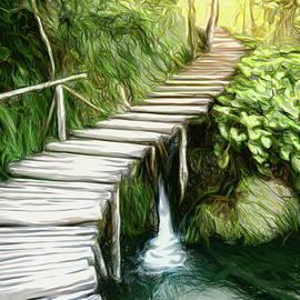 Plitvice Lakes Boardwalk Artsy by Alexey Stiop