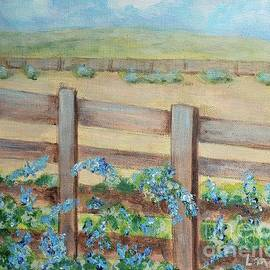 Plumbago in the Corral by Laurie Morgan