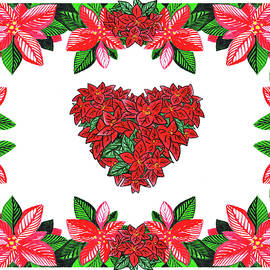 Poinsettia Heart Watercolor Art by Irina Sztukowski