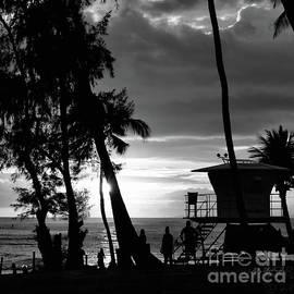 Poipu Beach Park Kauai Sunset BW Sq by Gary F Richards