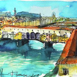 PONTE VECCHIO VIEW FROM UFFIZI GALLERY watercolor painting Mona Edulesco by Mona Edulesco