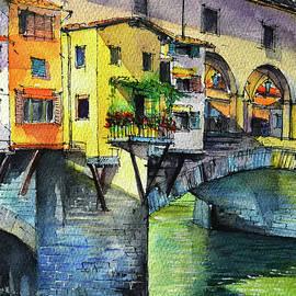 PONTE VECCHIO YELLOW BALCONY - commissioned watercolor painting Mona Edulesco by Mona Edulesco
