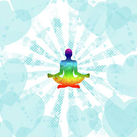 Pop art illustration of a man in yoga meditation with a rainbow inside on the background of hearts by Elena Sysoeva