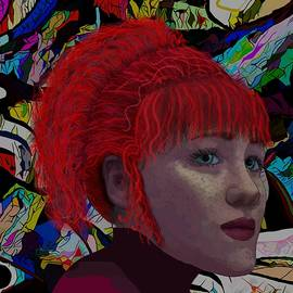 Pop Art Portrait Red Hair And Freckles by Joan Stratton