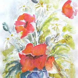 Poppies And Bird by Jasna Dragun