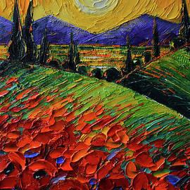 POPPIES IN SUNSET LIGHT palette knife oil painting Mona Edulesco by Mona Edulesco