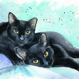 Poppyseed and Peppercorn Black Cat Painting by Dora Hathazi Mendes