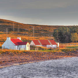 Red Roof Croft Sunset Near Opinan Gairloch Scotland by OBT Imaging