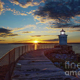 Portland Breakwater Lighthouse at Sunrise. by Diane Diederich