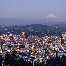 Portland Evening    Urban Cityscape with Mt Hood  by Nancy Jacobson