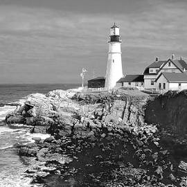 Portland Head Light in Black and White by Jerry Griffin