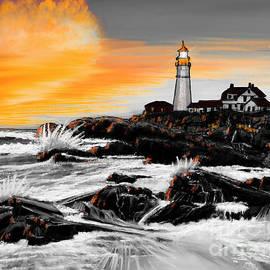 Portland Head Lighthouse Orange by Gary F Richards