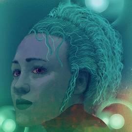 Portrait Blonde Woman Red Glitter Light by Joan Stratton