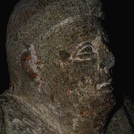 Portrait bust of thickset Etruscan citizen of ancient Tarchuna preserved at Tarquinia, Lazio, Italy by Terence Kerr