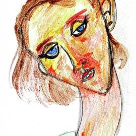 Portrait of Short-Haired Girl styled after Modigliani by Debora Lewis