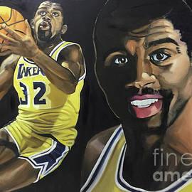 Portrait painting of Magic Johnson Basketball Superstar by Greta Corens