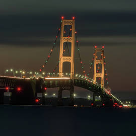 Portrait view of Mackinaw Bridge at Night by Thomas Pettengill