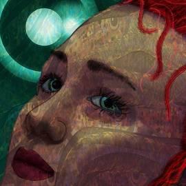 Portrait Woman Blue Eyed Redhead Ghostly Impression by Joan Stratton