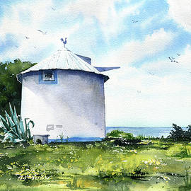 Portuguese Windmill At The Atlantic Coast by Dora Hathazi Mendes