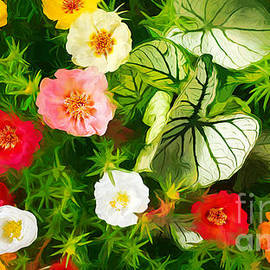 Portulacas and Caladiums in Macro by Mike Nellums
