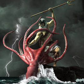 Poseidon vs. the Kraken by Daniel Eskridge