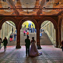 Posing For Wedding Pictures - Central Park by Allen Beatty