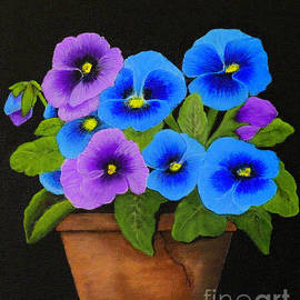 Potted Pansies by Shirley Dutchkowski