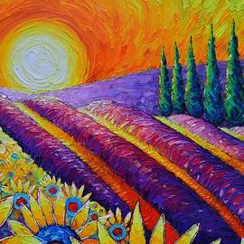 PROVENCE DAWN SUNFLOWERS AND LAVENDER FIELDS textural palette knife oil painting Ana Maria Edulescu by Ana Maria Edulescu