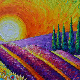PROVENCE LAVENDER FIELDS AND CYPRESS TREES commission painting abstract landscape Ana Maria Edulescu by Ana Maria Edulescu