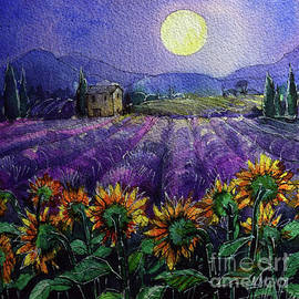 PROVENCE NIGHT - Sunflowers and lavender fields watercolor painting Mona Edulesco by Mona Edulesco
