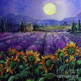 PROVENCE NIGHT - Sunflowers and lavender fields watercolor painting Mona Edulesco by Mona Edulesco
