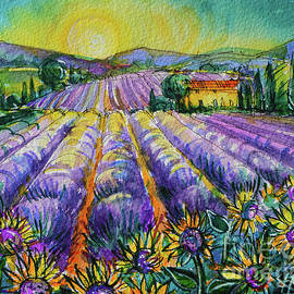 PROVENCE SUNFLOWERS AND LAVENDER watercolor painting Mona Edulesco by Mona Edulesco