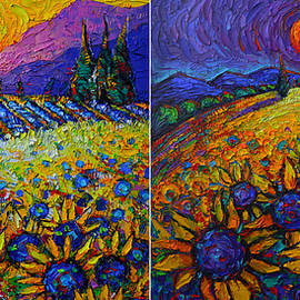 PROVENCE SUNFLOWERS DAY AND NIGHT abstract landscapes palette knife oil paintings Ana Maria Edulescu by Ana Maria Edulescu