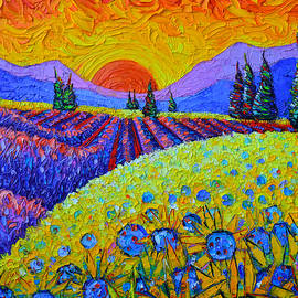 PROVENCE SUNSET SUNFLOWERS AND LAVENDER FIELDS commissioned painting landscape by Ana Maria Edulescu by Ana Maria Edulescu