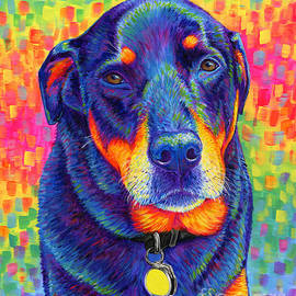 Psychedelic Rainbow Rottweiler by Rebecca Wang