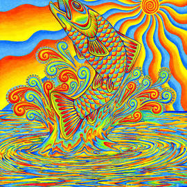 Psychedelic Rainbow Trout Fish by Rebecca Wang